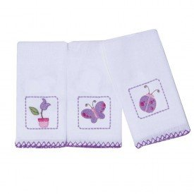 1552 kit 3 paninhos de boca bebe menina borboleta lilas