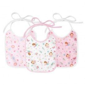 1950 kit 3 babadores bebe menina borboletinhas rosa