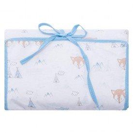 2229 2trocador portatil e porta fraldas bebe menino little fox azul dudalui
