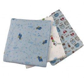 1091 kit 3 cueiros flanelados bebe menino carrinhos azul 2 dudalui