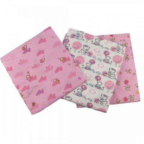 1091 kit 3 cueiros flanelados bebe menina floral rosa 2 dudalui