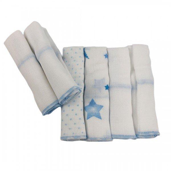 1632 kit 6 paninhos de boca bebe menino estrelinhas azul 2 dudalui