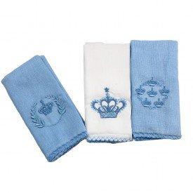 1250 kit 3 babetes bebe menino coroa azul dudalui