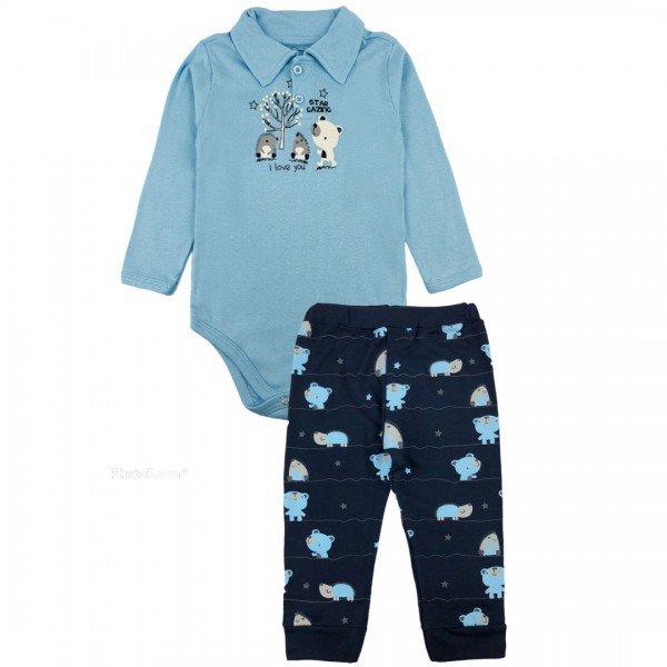 203 conjunto body bebe menino bichinhos azul dudalui