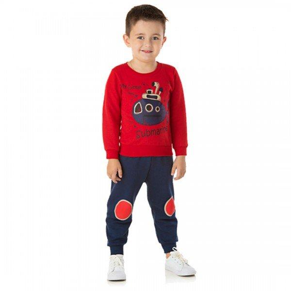 1354 conjunto moletom kids menino submarino vermelho dudalui