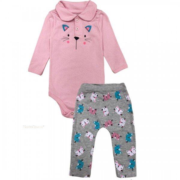 205 conjunto body bebe menina little cat rosa dudalui