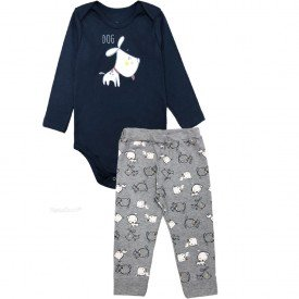 207 conjunto body bebe menino little dog marinho dudalui
