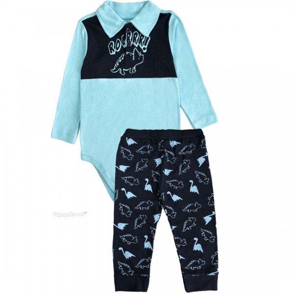 206 conjunto body bebe menino dinossauro azul dudalui