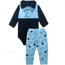 206 conjunto body bebe menino dinossauro marinho dudalui