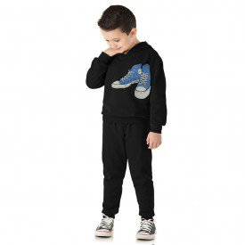 1366 conjunto moletom infantil menino sneakers preto dudalui