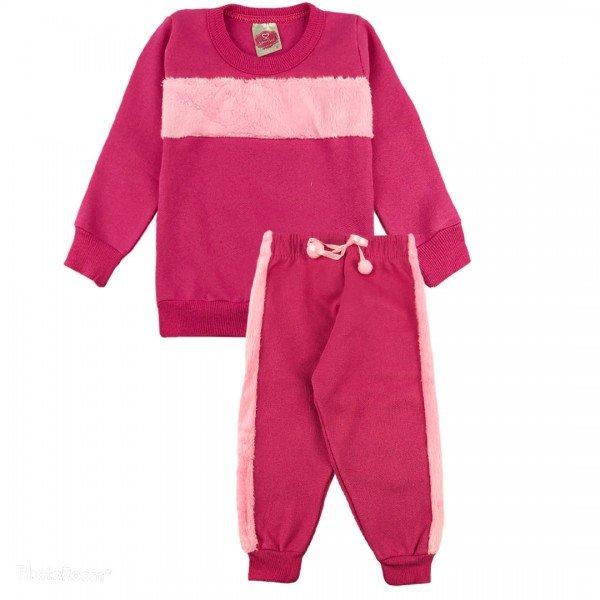 2082 conjunto moletom bebe menina pink dudalui
