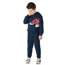 1366 conjunto moletom infantil menino sneakers marinho dudalui