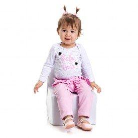 4803 conjunto body bebe menina baby bear branco dudalui