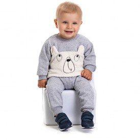 4877 conjunto moletom bebe menino sweet bear mescla