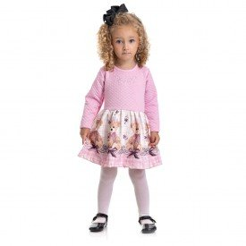 4822 vestido kids menina little bear rosa dudalui