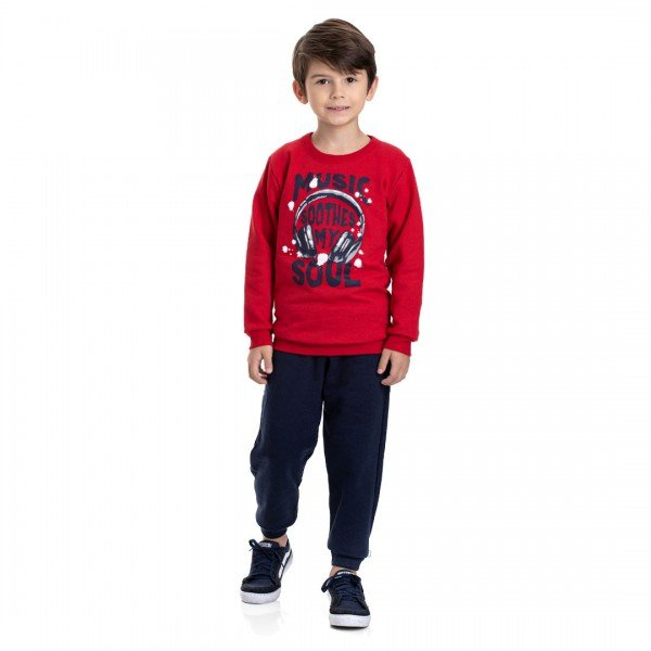 4911 conjunto moletom infantil menino music soul vermelho dudalui