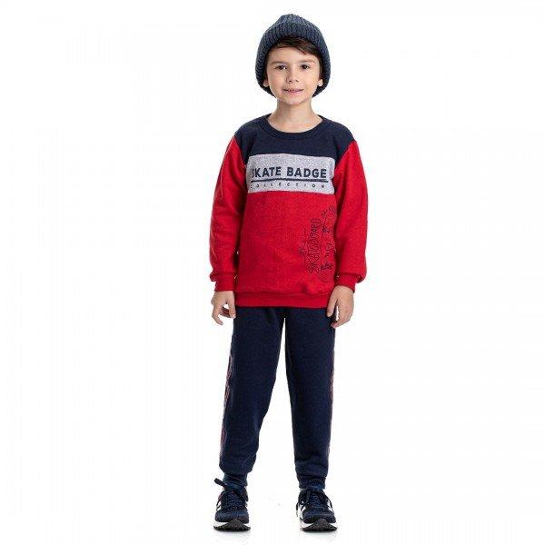 4909 conjunto moletom infantil menino skate badge vermelho dudalui