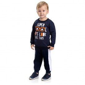4888 conjunto moletom kids menino super cool marinho dudalui