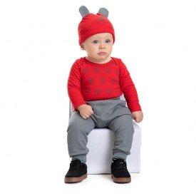 4876 conjunto body bebe menino little bear vermelho dudalui
