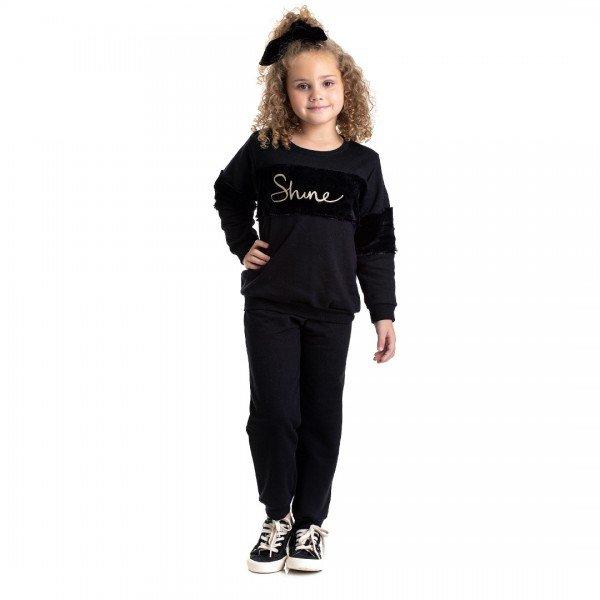 4840 conjunto moletom infantil menina shine preto dudalui