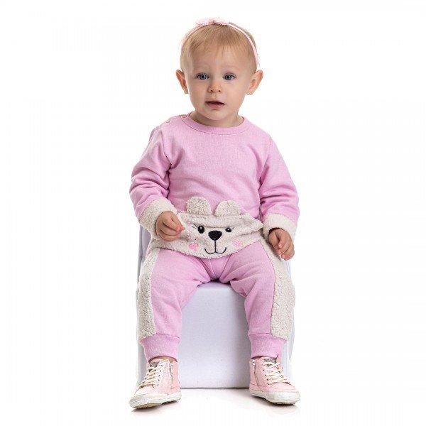 4800 conjunto moletom bebe menina little bear rosa dudalui