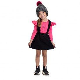 4826 conjunto jardineira kids menina strass heart pink dudalui