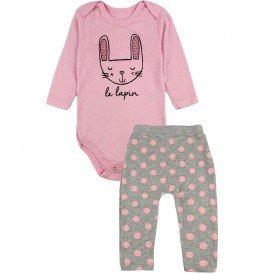 203 conjunto body bebe menina sweet bunny rosa dudalui