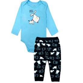 207 conjunto body bebe menino little dog azul dudalui