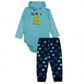208 conjunto body bebe menino bichinhos azul dudalui