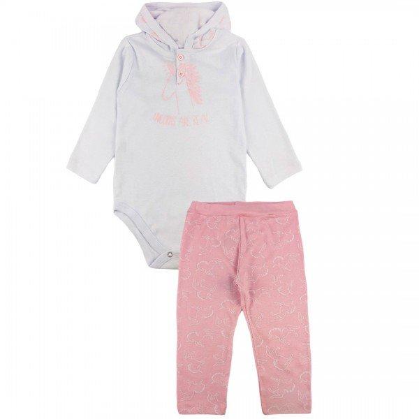 202 conjunto body bebe menina unicornio rosa dudalui