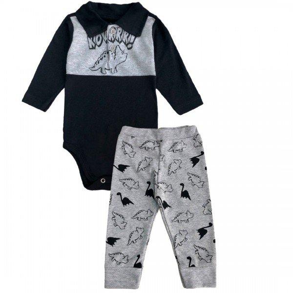 206 conjunto body bebe menino dinossauro preto
