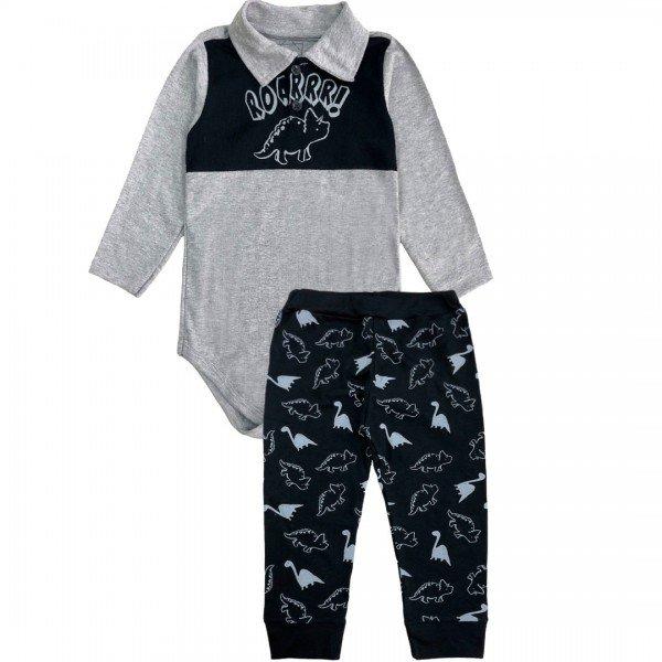 206 conjunto body bebe menino dinossauro mescla dudalui