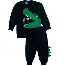 2140 conjunto moletom kids menino alligator preto dudalui